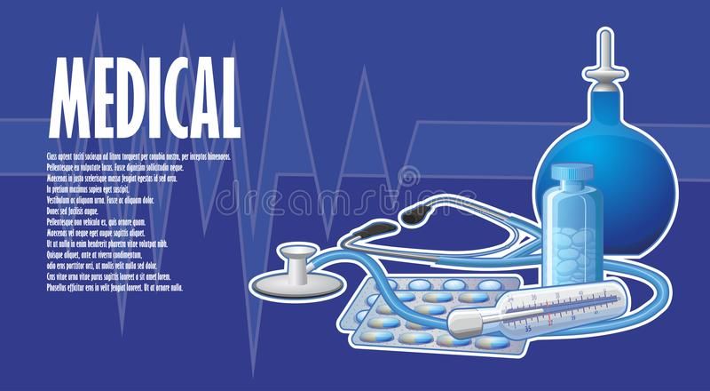 与灌肠和听诊器的一张被绘的海报 皇族释放例证