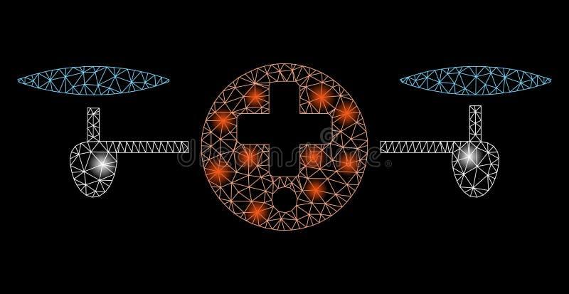 与火光斑点的火光滤网第2家Quadcopter药房 向量例证