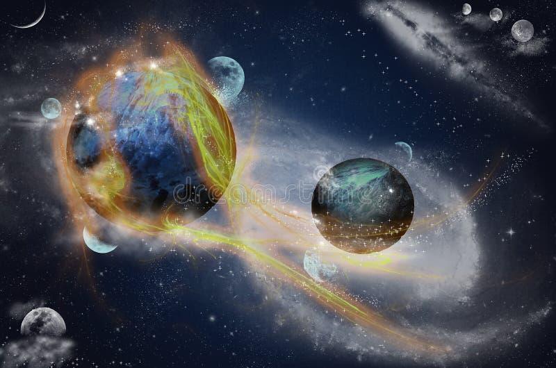 与火光的行星在空间,光纤 库存例证