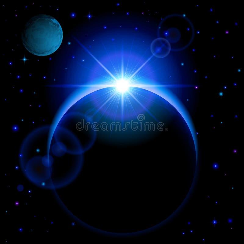 与火光的黑暗的行星 库存例证