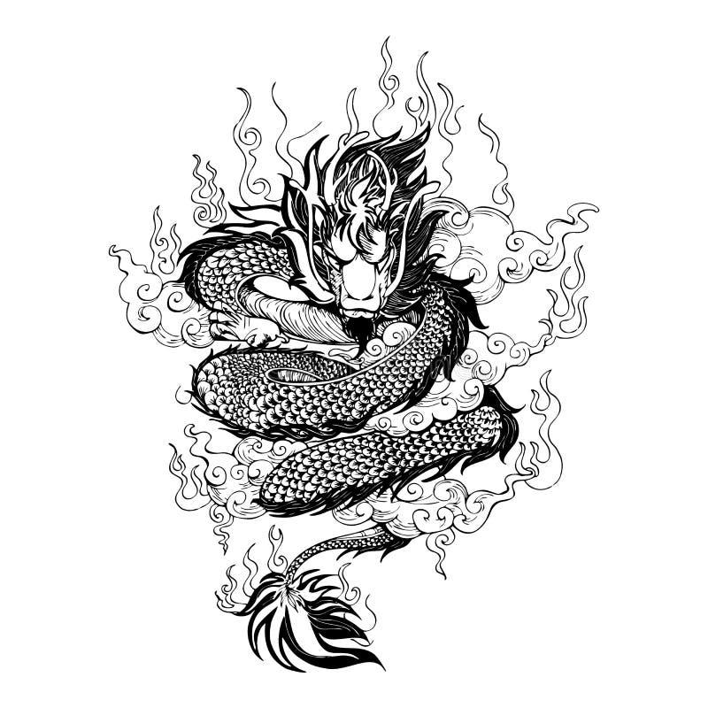 与火和云彩的亚洲龙在天空图画纹身花刺 库存例证