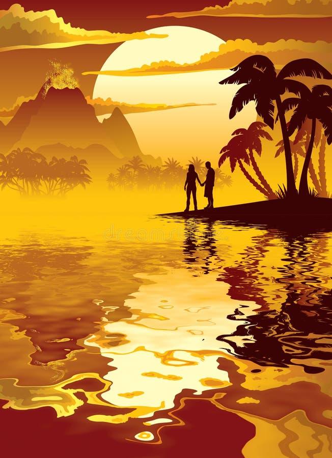 与火山的热带日落 免版税库存照片