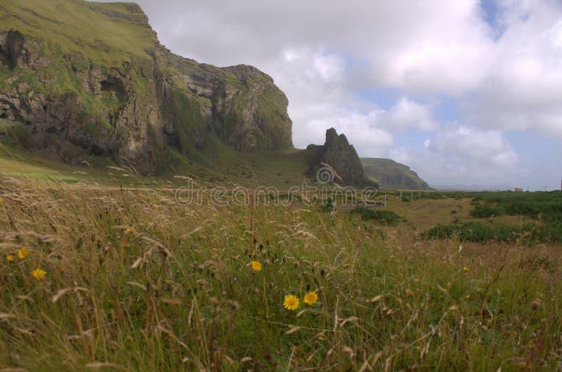 与火山的outwash的南部的冰岛风景 图库摄影