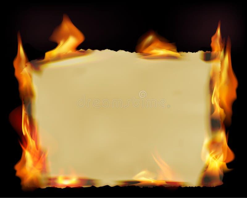与火火焰的纸张 向量例证
