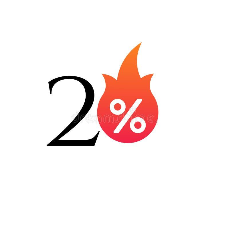 20%与火焰、燃烧的贴纸、标签或者象 热的销售火焰和百分号标签,贴纸 特价,大 向量例证