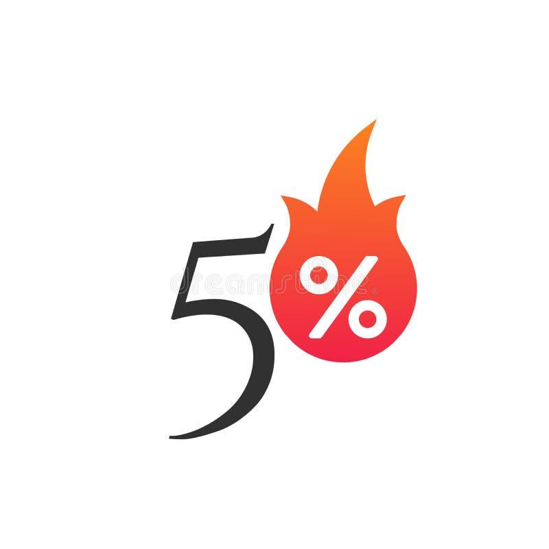 50%与火焰、燃烧的贴纸、标签或者象 热的销售火焰和百分号标签,贴纸 特价,大 向量例证