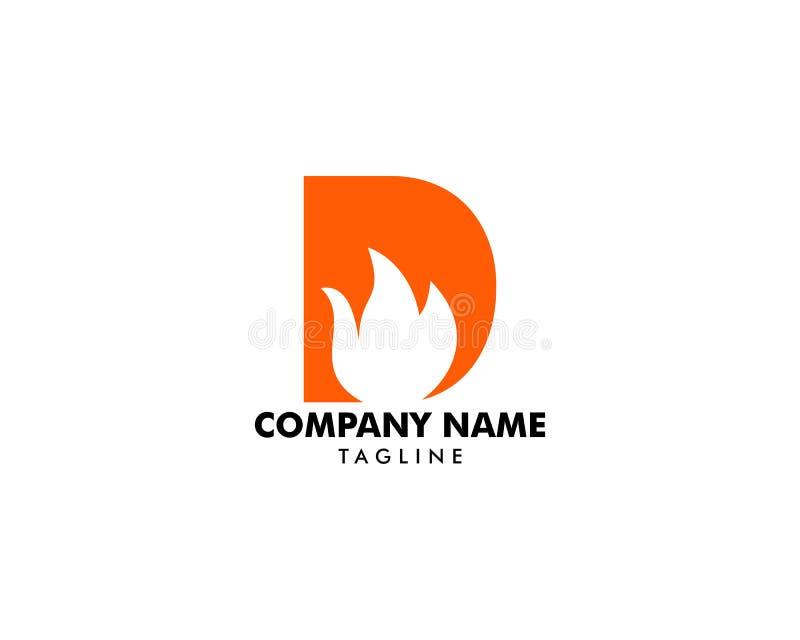 与火焰火传染媒介商标设计的信件D 向量例证