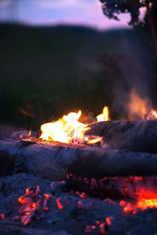 与火焰的舌头的篝火 库存照片