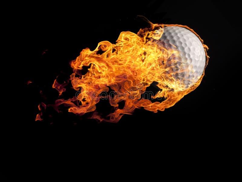 与火焰的高尔夫球在黑色 免版税图库摄影