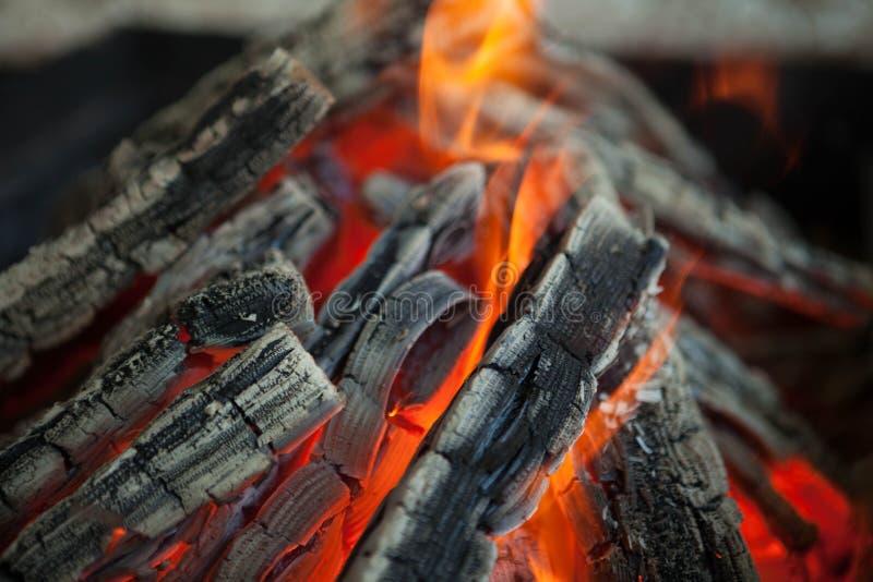 与火焰被烧焦的木头的美好的火 免版税库存照片