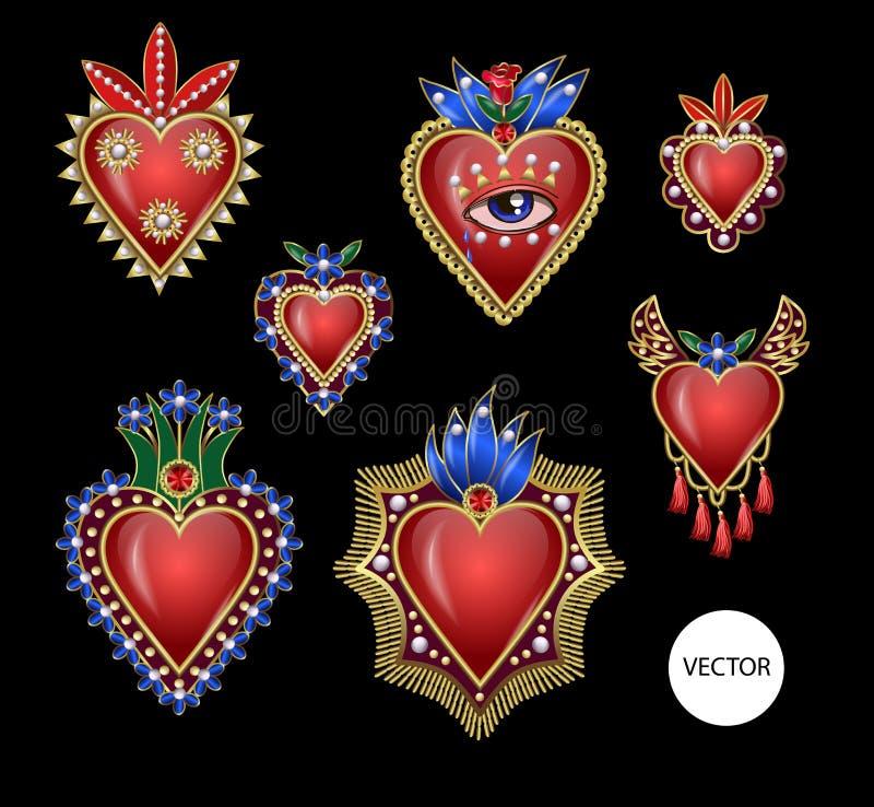 与火的传统墨西哥心脏和花、被绣的衣服饰物之小金属片、小珠和珍珠 传染媒介补丁 向量例证
