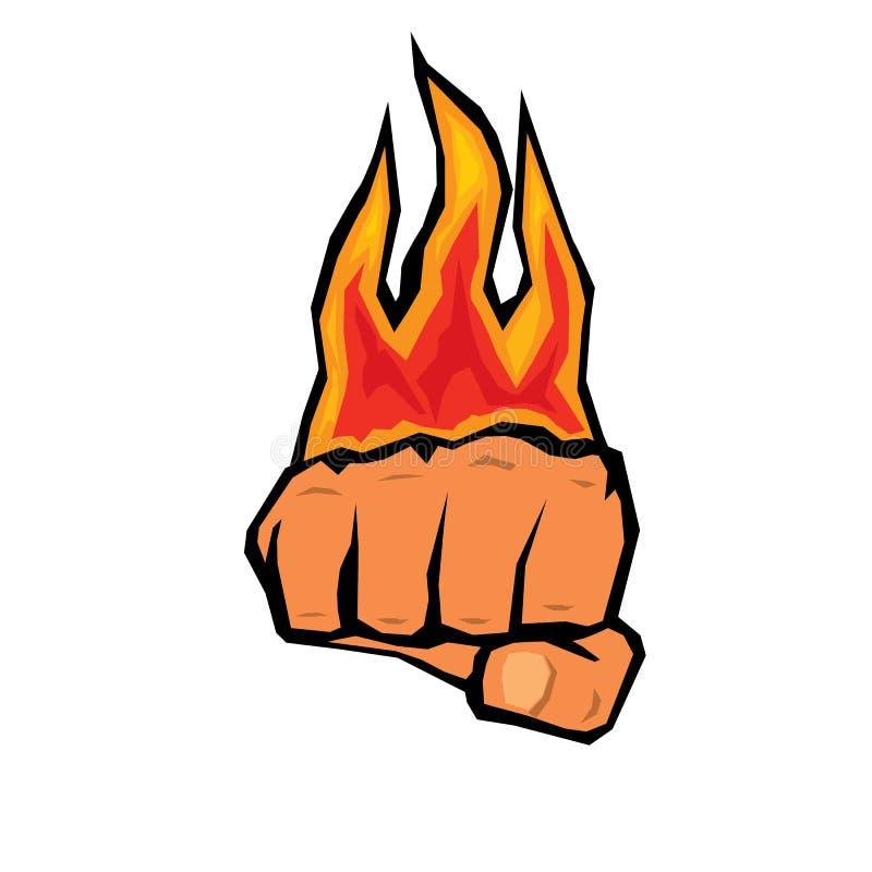 与火的拳头剪影。 库存例证
