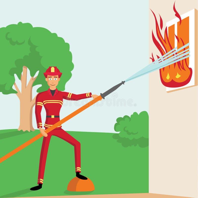 与火的消防员战斗 向量例证