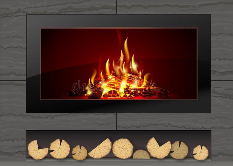 与火的现代壁炉 图库摄影