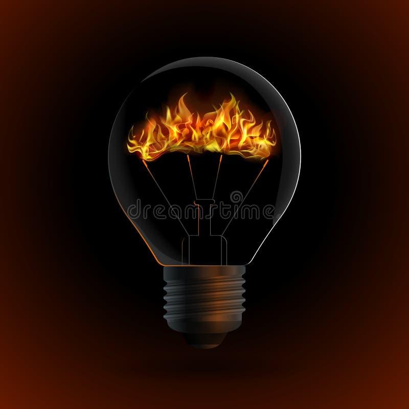 与火的电灯泡在黑暗的背景 向量例证