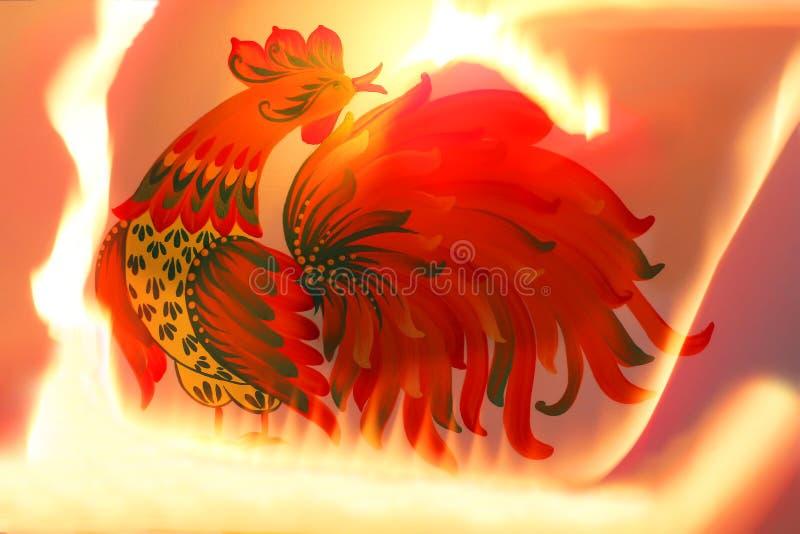 与火的红色金黄雄鸡 背景 库存例证