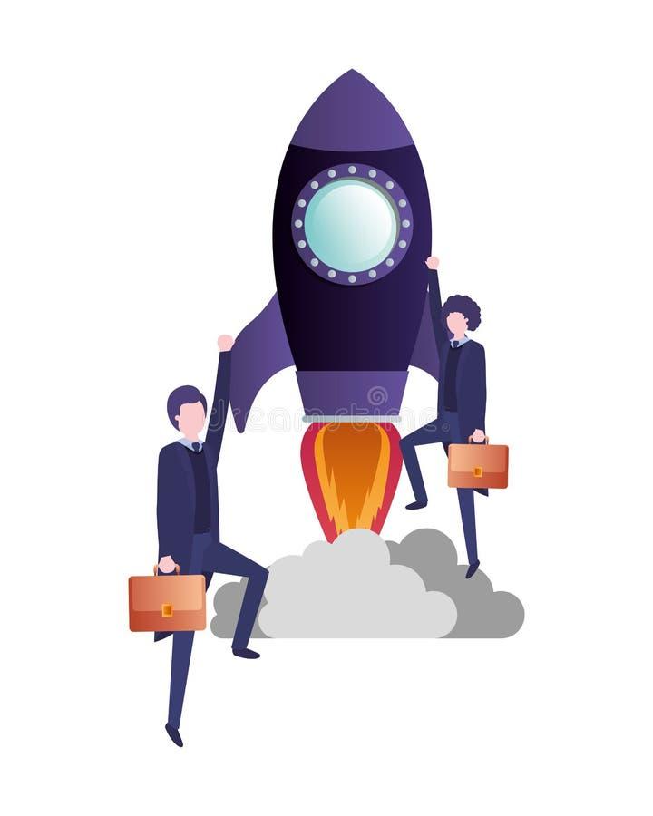 与火箭具体化字符的商人 向量例证