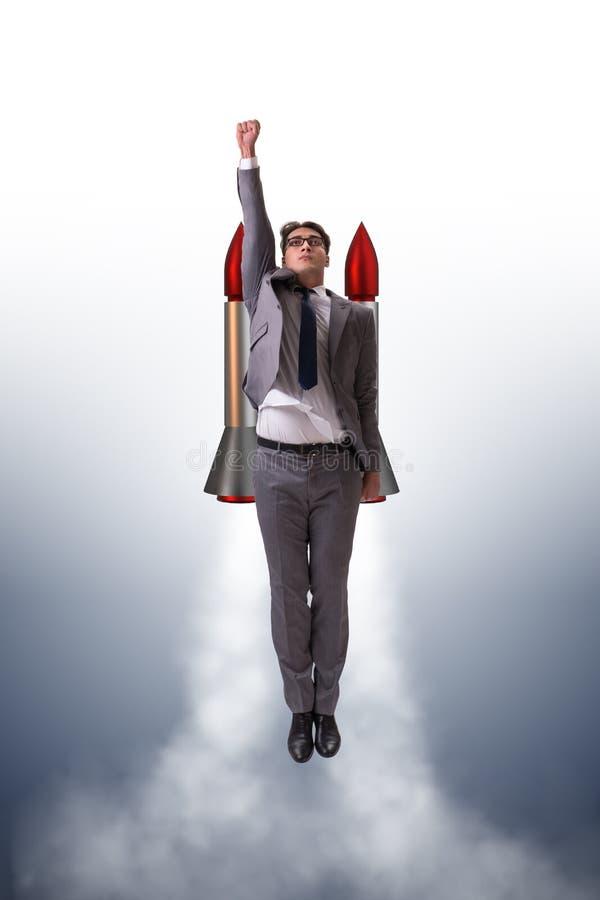与火箭的人飞行在企业概念 皇族释放例证