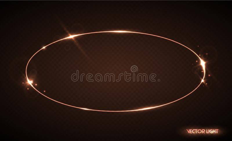 与火花和聚光灯的传染媒介卵形框架 光亮的椭圆横幅 在黑透明背景隔绝的传染媒介例证 库存例证