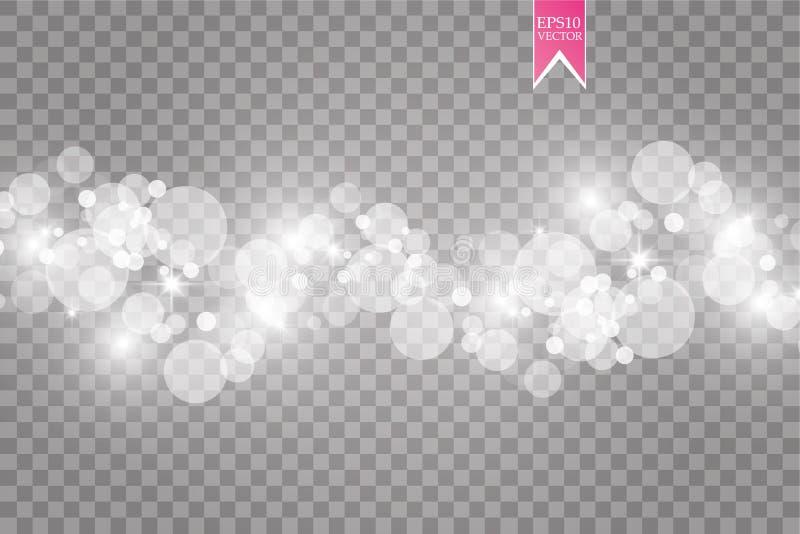 与火花现代设计的抽象白色bokeh作用爆炸 焕发星破裂的或烟花光线影响 闪闪发光 向量例证