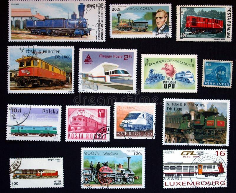 与火车的邮票在纽约 免版税库存照片