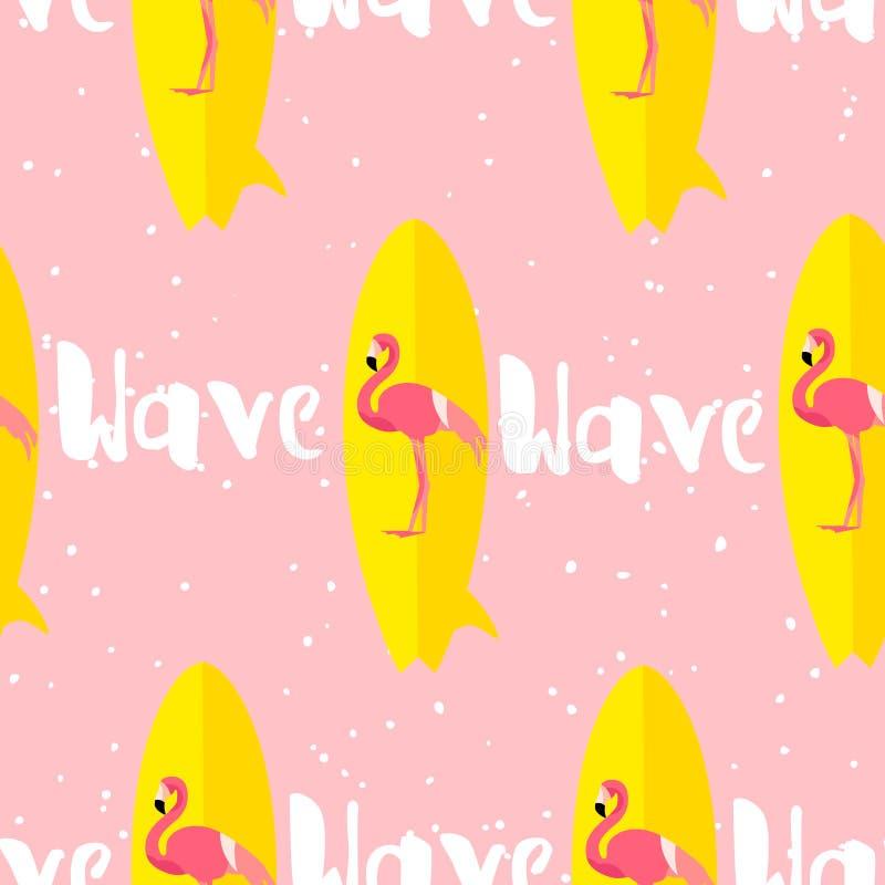 与火鸟、冲浪板和文本的夏天无缝的样式在桃红色背景 平的设计 背景看板卡prelambulator镶边向量 向量例证