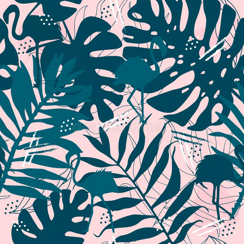与火鸟叶子的无缝的热带样式为织品设计打印 皇族释放例证