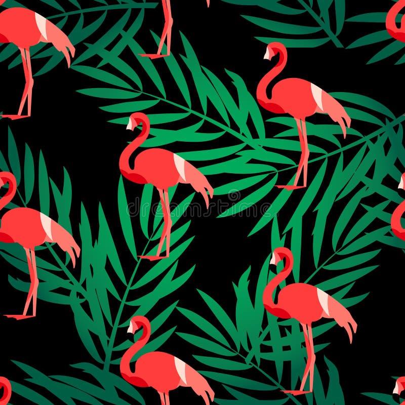 与火鸟和绿色棕榈的无缝的样式分支 纺织品和包裹的装饰品 向量夏天背景 库存例证