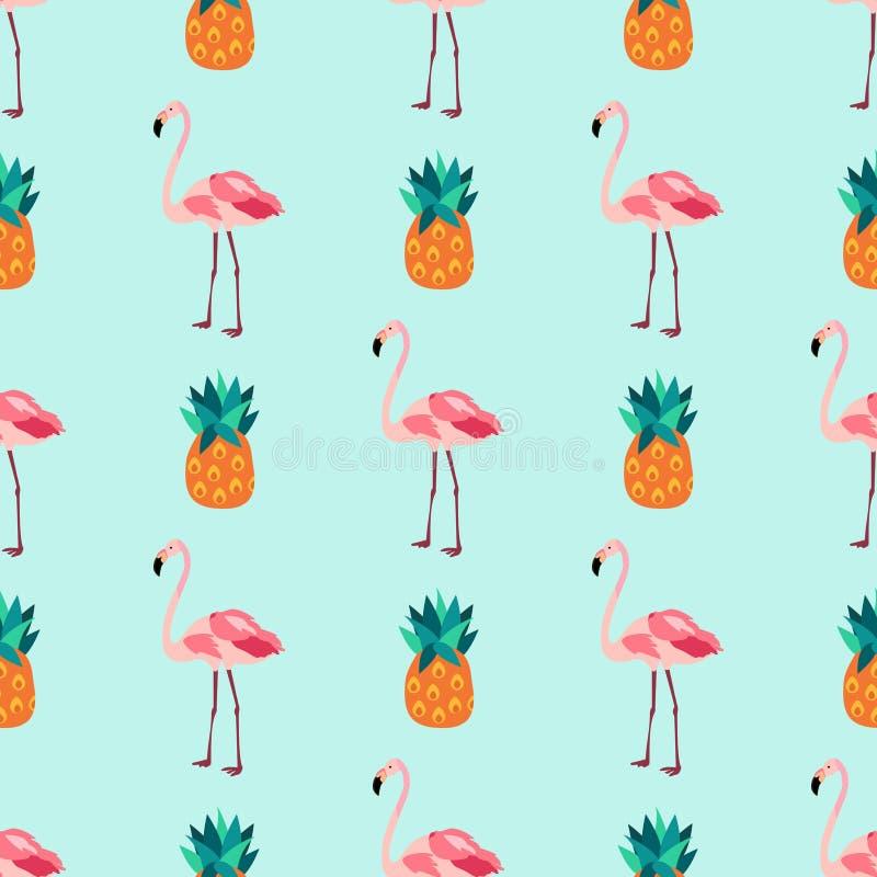 与火鸟,菠萝的无缝的热带样式 皇族释放例证
