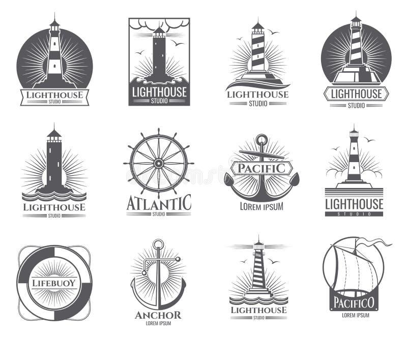 与灯塔、海船和船锚的葡萄酒船舶标签 被设置的老海军商标 向量例证