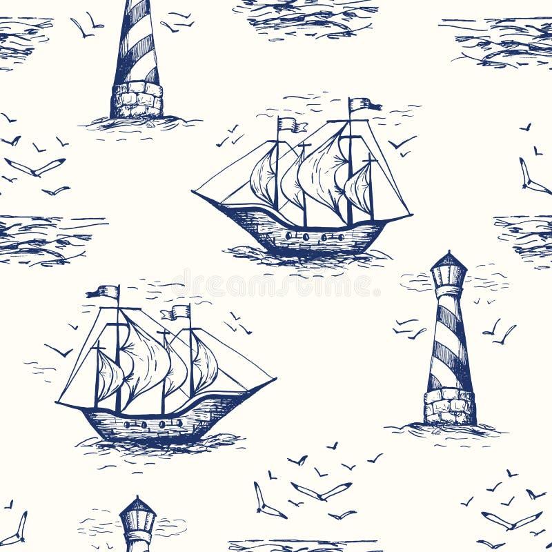 与灯塔、海鸥、海边风景和船的葡萄酒手拉的Nautical Toile De Jouy Vector无缝的样式 皇族释放例证