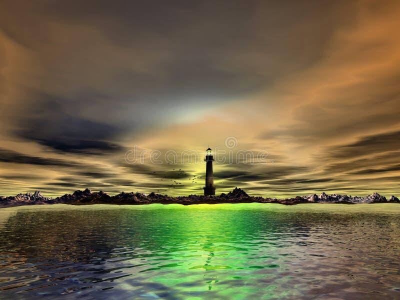 与灯塔和海的超现实的场面 免版税库存图片