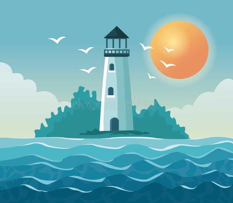 与灯塔的五颜六色的海报海边在与太阳的海岸在天空 库存例证