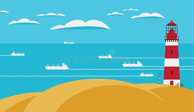 与灯塔的海景在小山和船 库存例证