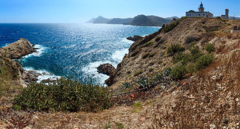 与灯塔肋前缘布朗卡,西班牙的沿海 免版税库存图片