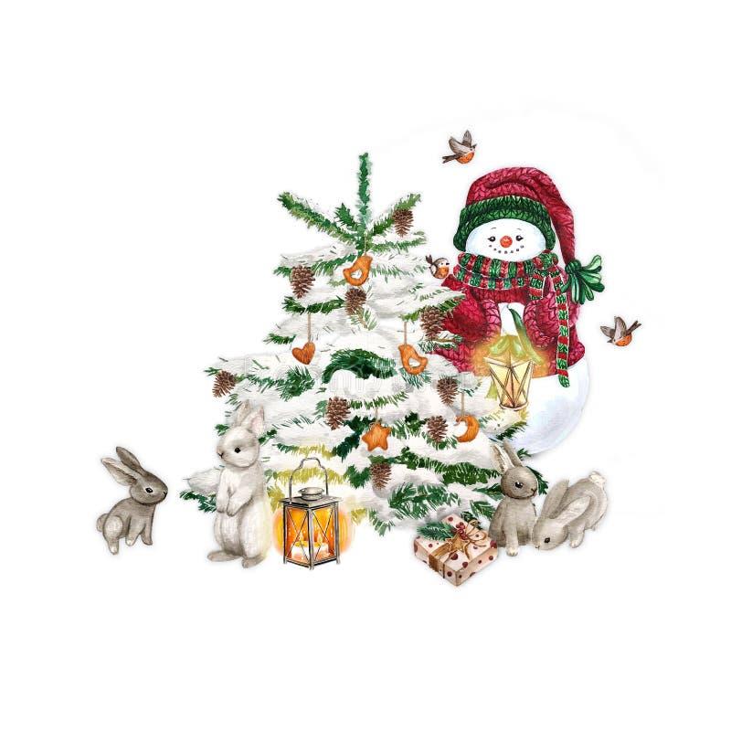 与灯的水彩雪人 假日装饰印刷品设计模板 手拉的卡片 背景查出的白色 皇族释放例证