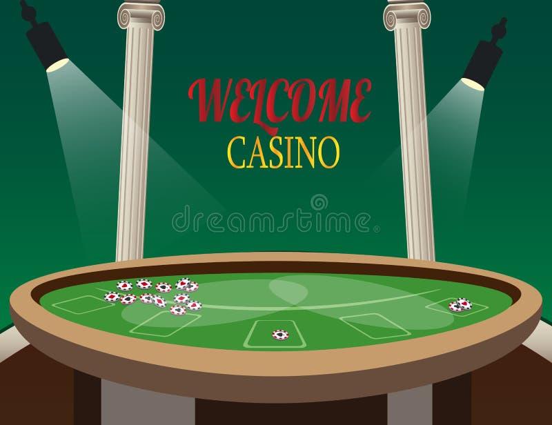 与灯的赌博娱乐场金黄横幅欢迎 向量例证
