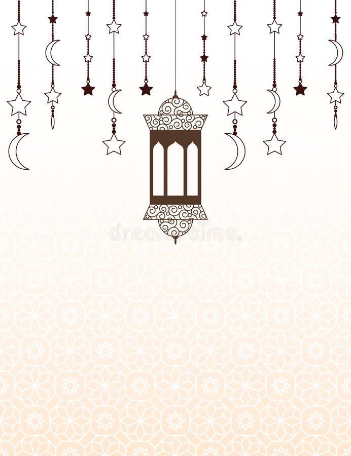 与灯笼的伊斯兰教的赖买丹月主题的背景 库存例证