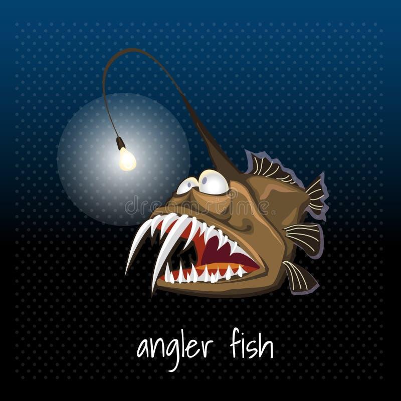 与灯笼的琵琶鱼,扁鲨,海恶魔 皇族释放例证