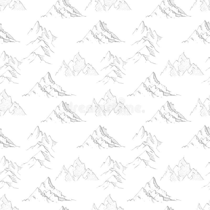 与灰色乱画剪影山的无缝的背景 能为墙纸,样式积土,纺织品,网页使用 库存例证