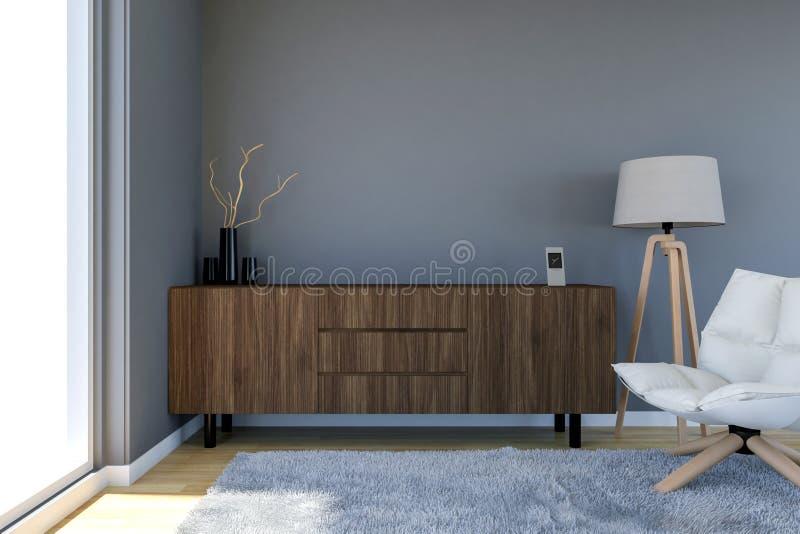 与灰色墙壁和大窗口的当代客厅内部 库存例证
