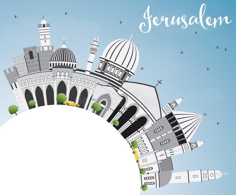 与灰色大厦、蓝天和拷贝空间的耶路撒冷地平线 皇族释放例证