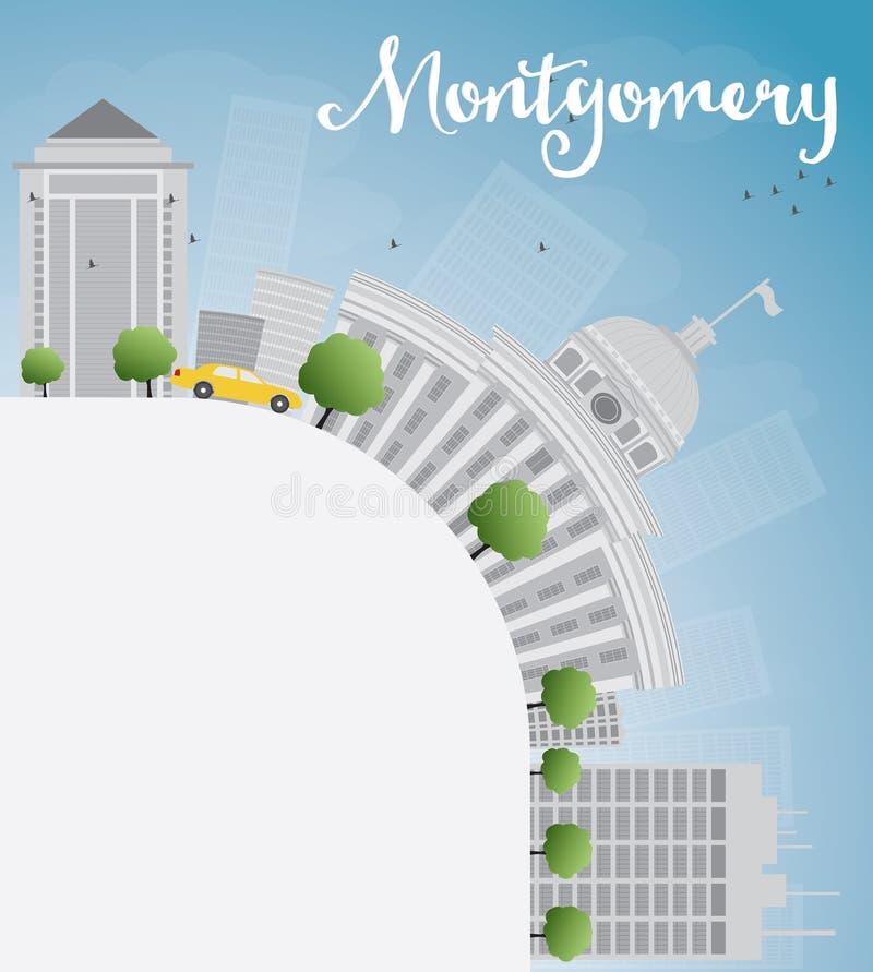 与灰色大厦、蓝天和拷贝空间的蒙加马利地平线 库存例证