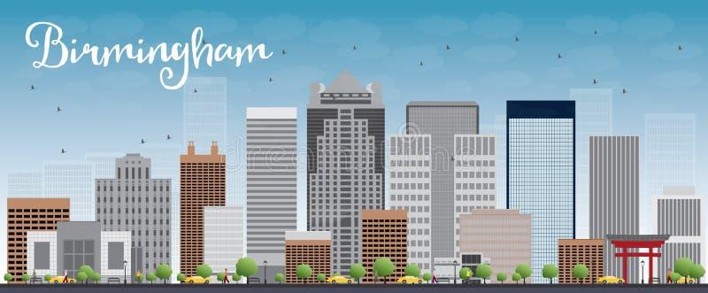 与灰色大厦和蓝天的伯明翰(阿拉巴马)地平线 向量例证
