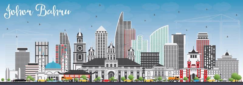 与灰色大厦和蓝天的新山马来西亚地平线 库存例证