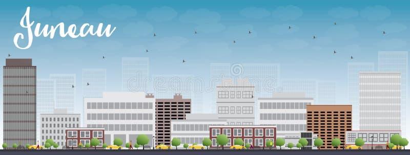 与灰色大厦和蓝天的朱诺(阿拉斯加)地平线 库存例证