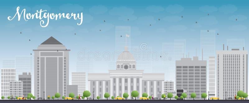 与灰色大厦和蓝天的蒙加马利地平线 皇族释放例证