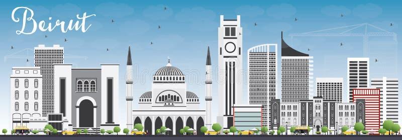 与灰色大厦和蓝天的贝鲁特地平线 向量例证