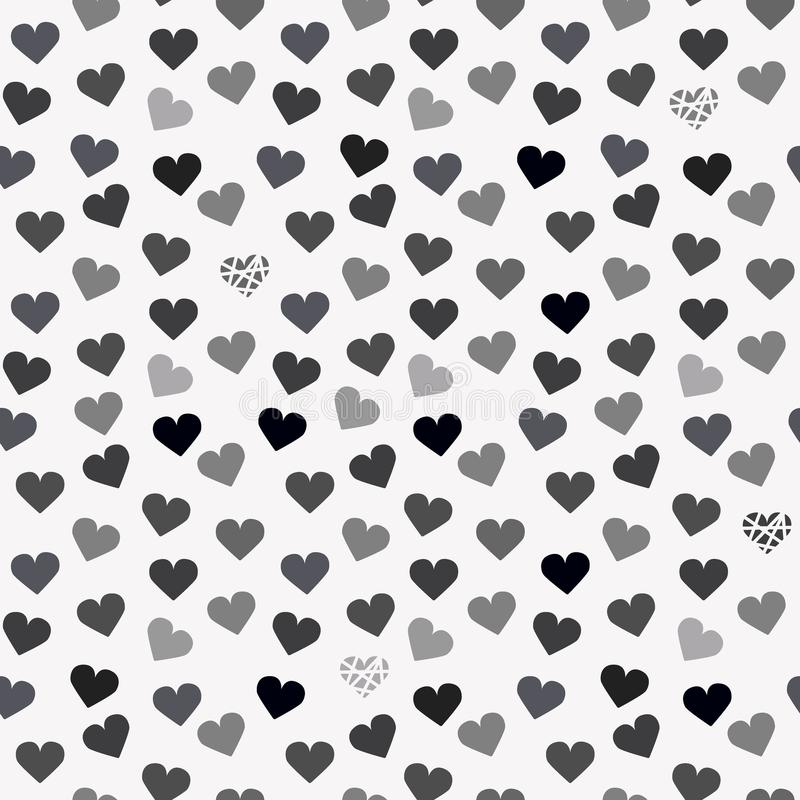 与灰色心脏的无缝的背景样式 向量例证