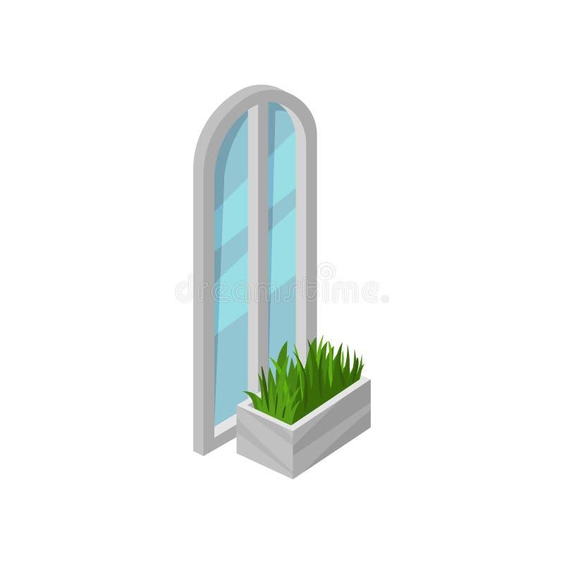 与灰色框架和蓝色玻璃的高被成拱形的窗口 鲜绿色的草在花床上 等量传染媒介设计 向量例证